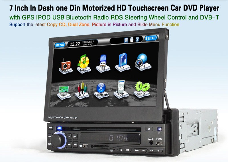 Autoradio AGW92 GPS WIFI DVD CD Bluetooth USB SD 1DIN simple emplacement universel (processeur 1GHZ)