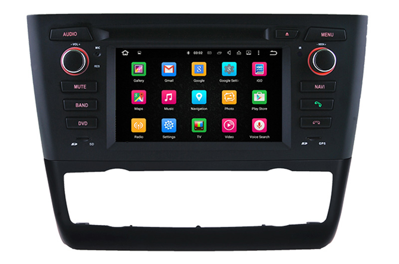 Autoradio AGW92 GPS WIFI DVD CD Bluetooth USB SD pour BMW série 1 E81 E82 E87 E88 (Android 8.1 processeur 2GHZ)