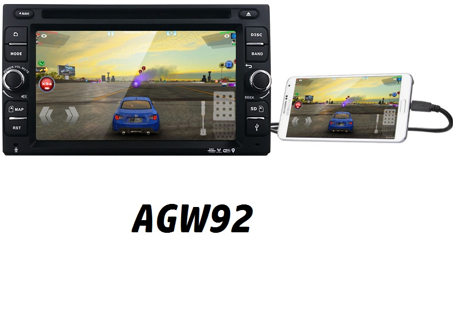 Autoradio AGW92 GPS WIFI DVD CD Bluetooth USB SD 2DIN double emplacement universel (processeur 2GHZ)