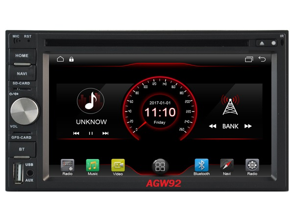 Autoradio AGW92 GPS WIFI DVD CD Bluetooth USB SD 2DIN double emplacement universel (Android 8 processeur 2GHZ)