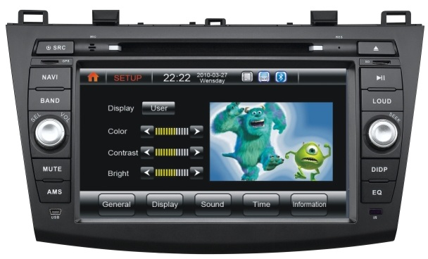 Autoradio AGW92 GPS DVD CD Bluetooth USB SD pour MAZDA 3 (processeur 1GHZ)