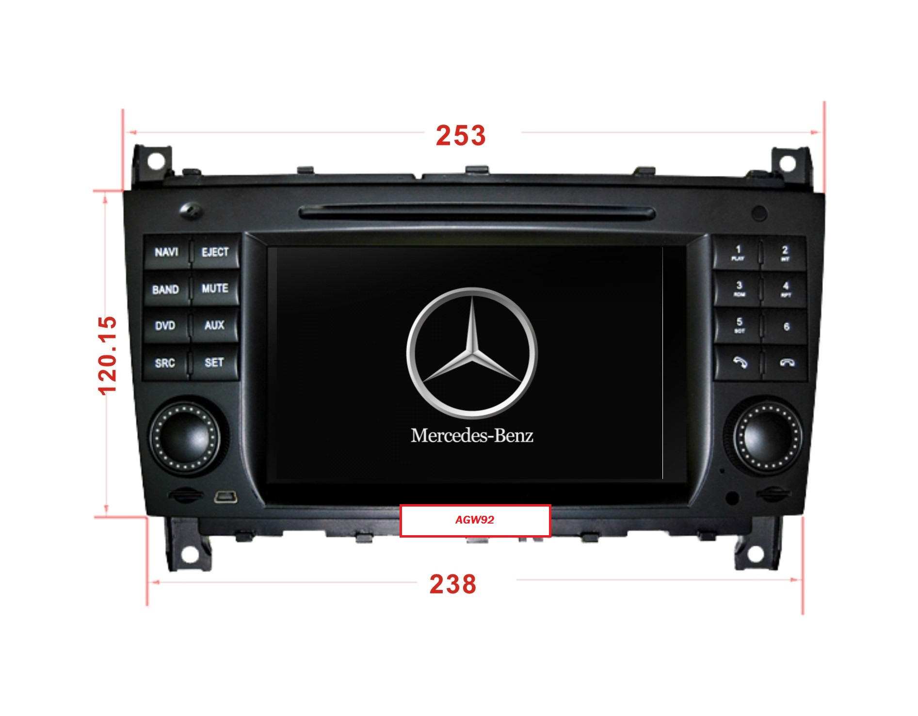 Autoradio AGW92 GPS WIFI DVD CD Bluetooth USB SD pour MERCEDES CLS & CLK (processeur 2GHZ)