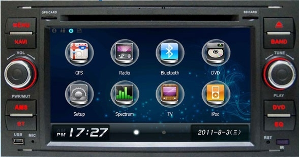 Station Multimédia Mobile Autoradio HD GPS DIVX DVD MP3 USB SD RDS Bluetooth IPOD disque dur 2 Go avec CAN BUS pour Ford Focus C-Max Fiesta Fusion Galaxy Transit Kuga