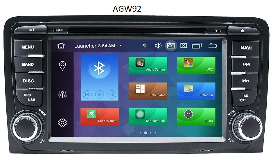 Autoradio AGW92 GPS WIFI DVD CD Bluetooth USB SD pour AUDI A3 S3 RS3 (processeur 2GHZ)