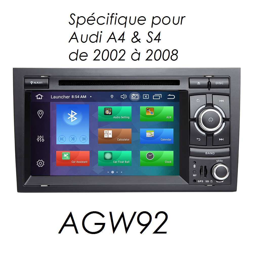 Autoradio AGW92 GPS WIFI DVD CD Bluetooth USB SD pour AUDI A4 S4 RS4 (processeur 2GHZ)