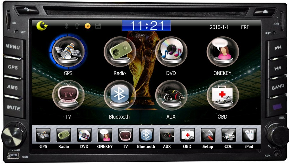 Autoradio AGW92 GPS WIFI DVD CD Bluetooth USB SD 2DIN double emplacement universel (processeur 1GHZ)