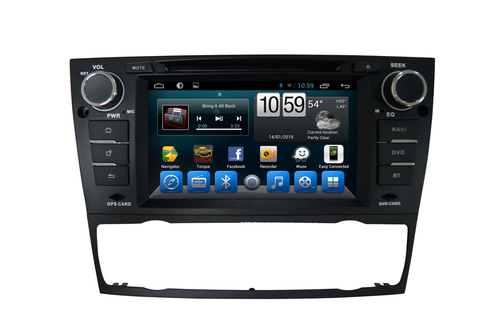 Autoradio AGW92 GPS WIFI DVD CD Bluetooth USB SD pour BMW Série 3 E90 E91 E92 E93 2005 à 2012 (Android processeur 2GHZ)