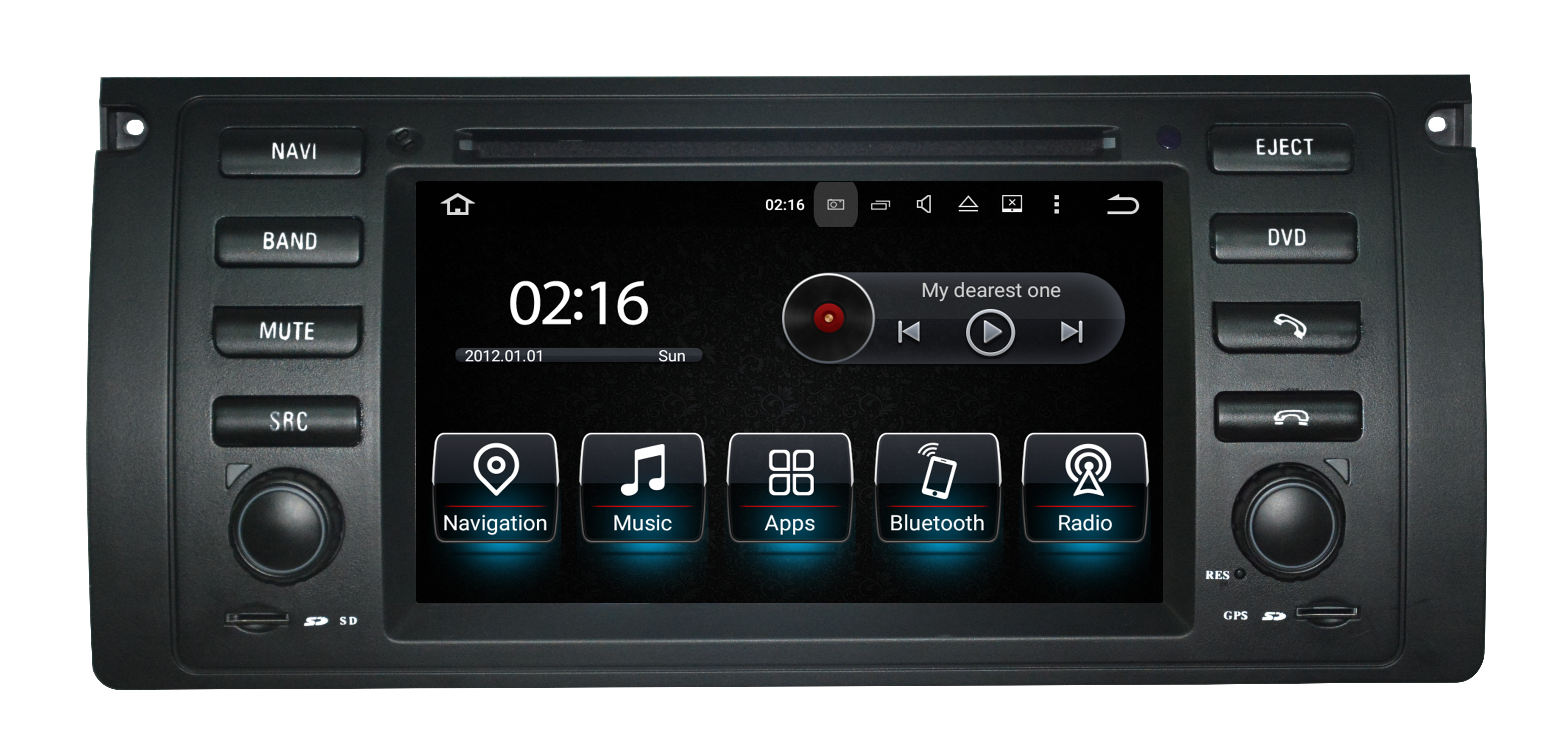 Autoradio AGW92 GPS WIFI DVD CD Bluetooth USB SD pour BMW E39 série 5 et X5 (Android processeur 2GHZ)