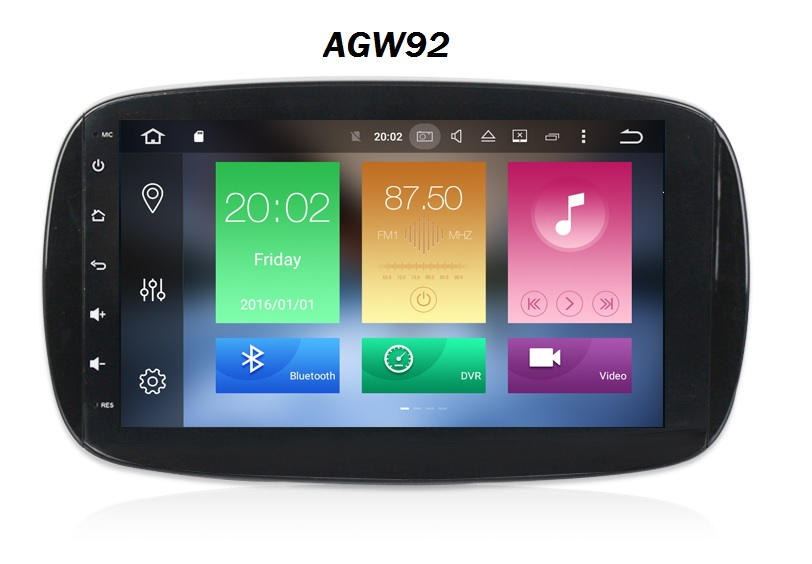 Autoradio AGW92 GPS WIFI DVD CD Bluetooth USB SD pour SMART Fortwo (Android 8.1 processeur 2GHZ)