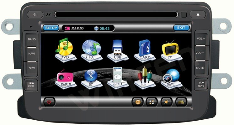 Autoradio AGW92 GPS DIVX DVD MP3 USB SD RDS Bluetooth IPOD PIP disque dur 2 Go avec CAN BUS pour DACIA Duster Sandero Lodgy Logan & Dokker
