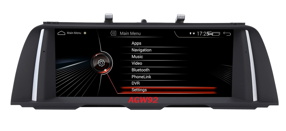 Autoradio AGW92 GPS WIFI DVD CD Bluetooth USB SD pour BMW série 5 F10 F11 (Android 8.1 processeur 2GHZ)