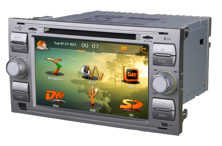Station Multimédia Mobile Autoradio HD GPS DIVX DVD MP3 USB SD RDS Bluetooth IPOD disque dur 2 Go avec CAN BUS pour Ford Focus C-Max Fiesta Fusion Galaxy Transit Kuga couleur gris