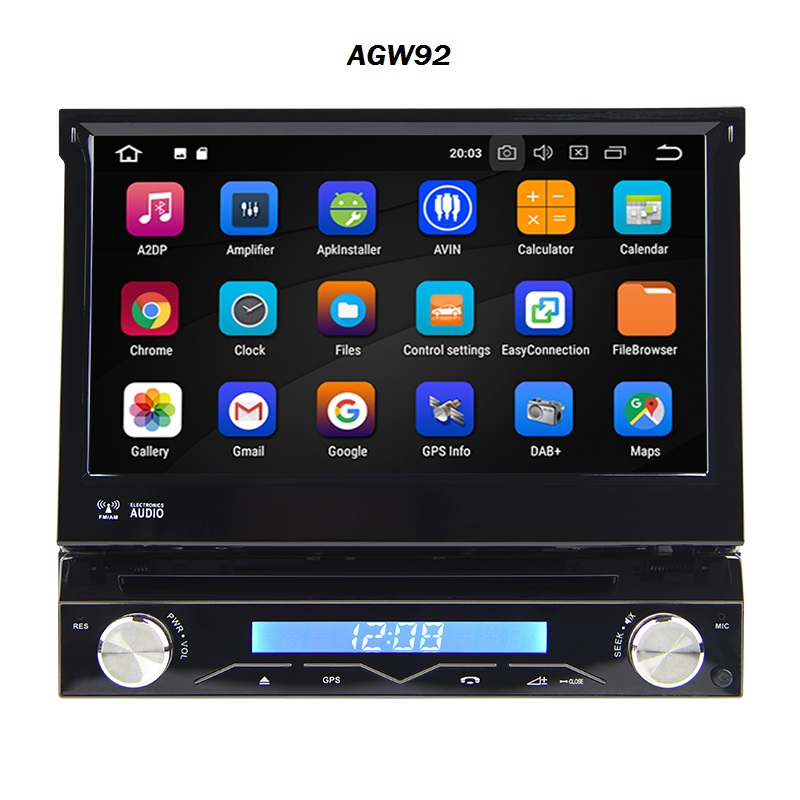 Autoradio AGW92 GPS WIFI DVD CD Bluetooth USB SD 1DIN simple emplacement universel (Android 8 processeur 2GHZ)