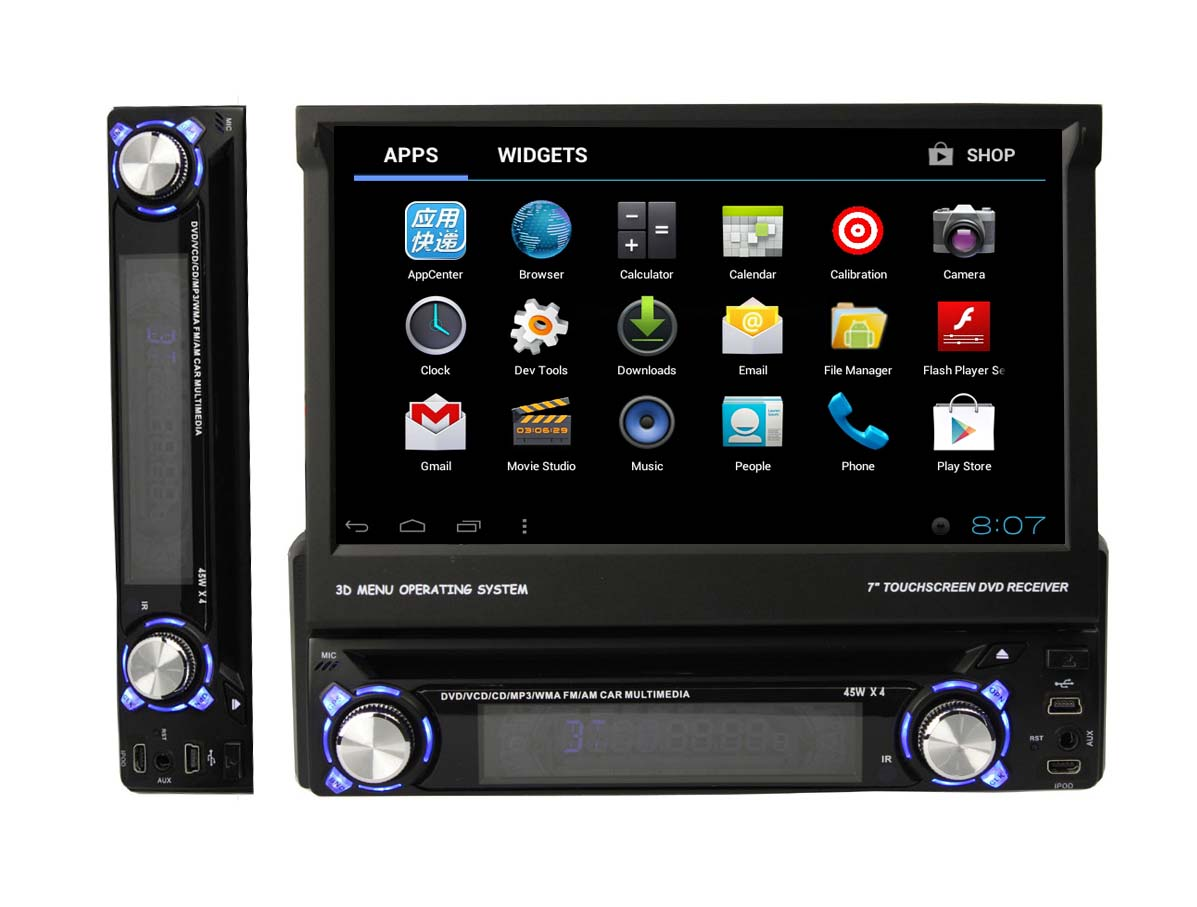 Autoradio AGW92 GPS WIFI DVD CD Bluetooth USB SD 1DIN simple emplacement universel (Android processeur 1GHZ)