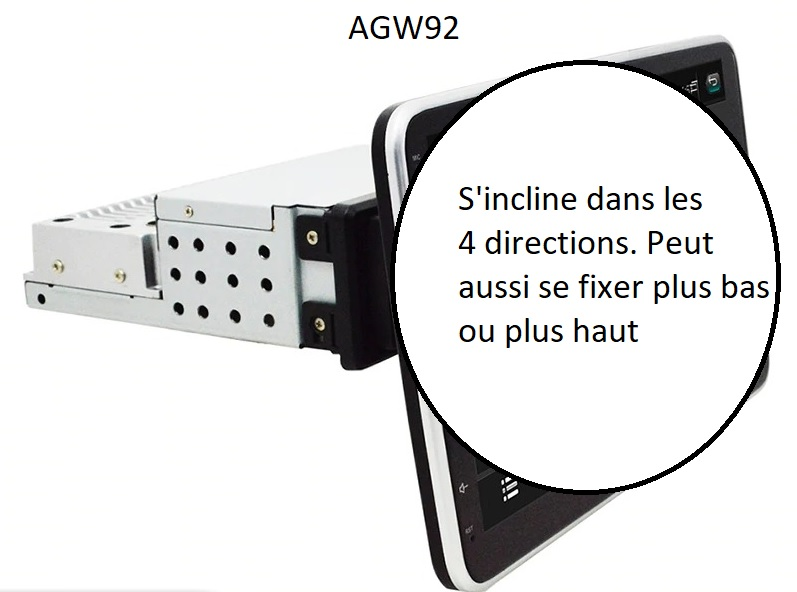 Autoradio AGW92 GPS WIFI Bluetooth USB SD 9 pouces 1DIN simple emplacement universel (processeur 2GHZ)