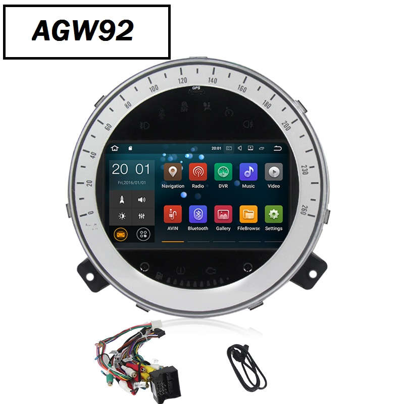 Autoradio AGW92 GPS WIFI DVD CD Bluetooth USB SD pour MINI Cooper Countryman (Android 8.1 processeur 2GHZ)