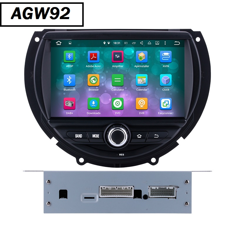 Autoradio AGW92 GPS WIFI DVD CD Bluetooth USB SD pour MINI Cooper (Android 8.1 processeur 2GHZ)