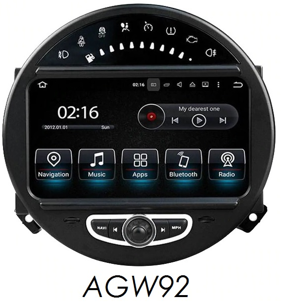 Autoradio AGW92 GPS WIFI DVD CD Bluetooth USB SD pour MINI Cooper Clubman Countryman Paceman (processeur 2GHZ)