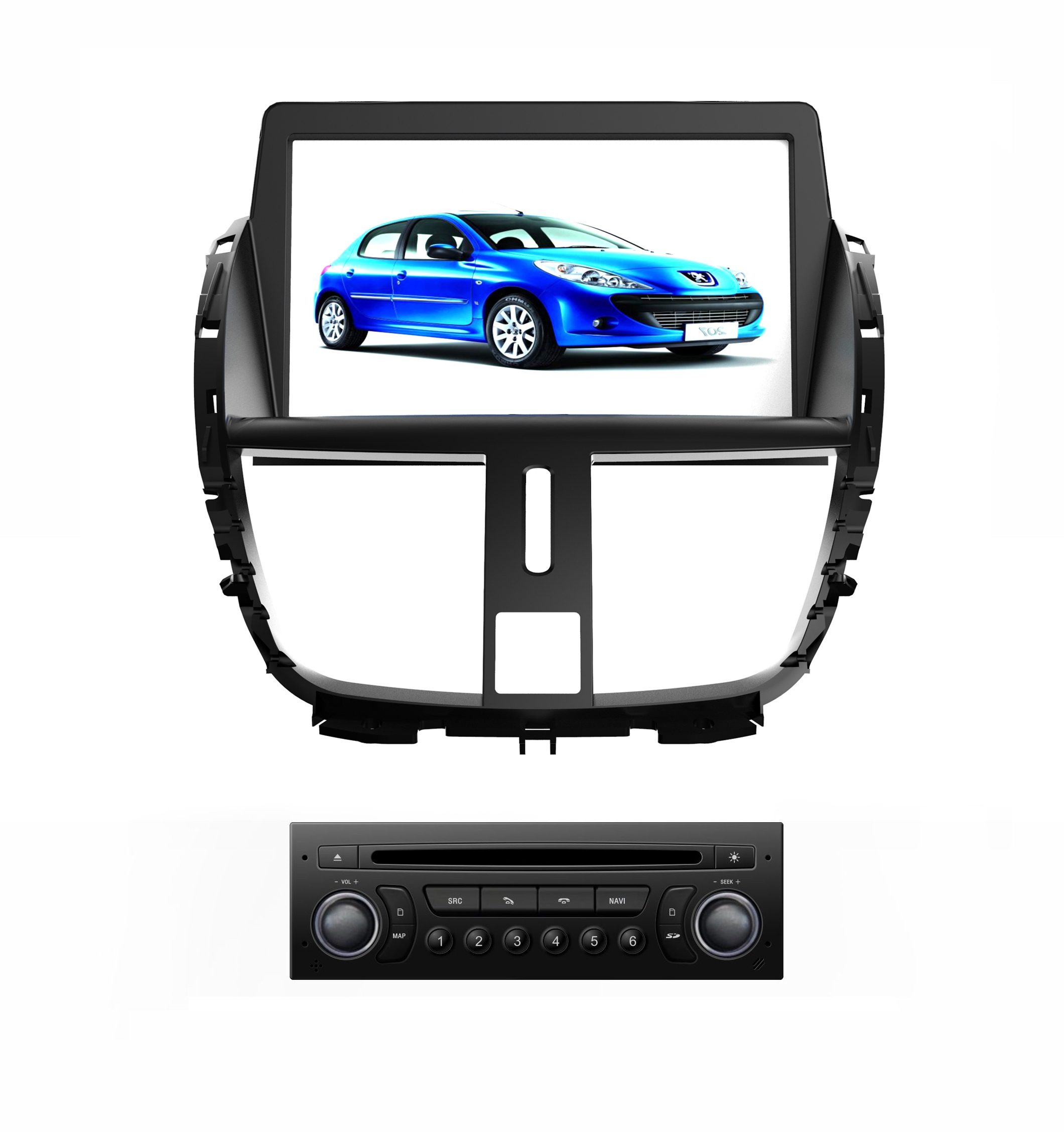 Autoradio AGW92 GPS DVD CD Bluetooth USB SD pour PEUGEOT 207 (processeur 1GHZ)