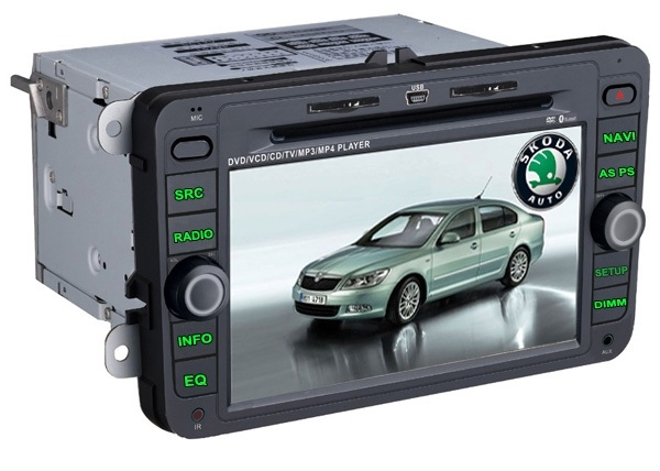 Autoradio HD GPS DIVX DVD MP3 USB SD TV RDS Bluetooth IPOD fonction TMC avec CAN BUS pour Skoda Yeti Roomster Superb Octavia II et Fabia