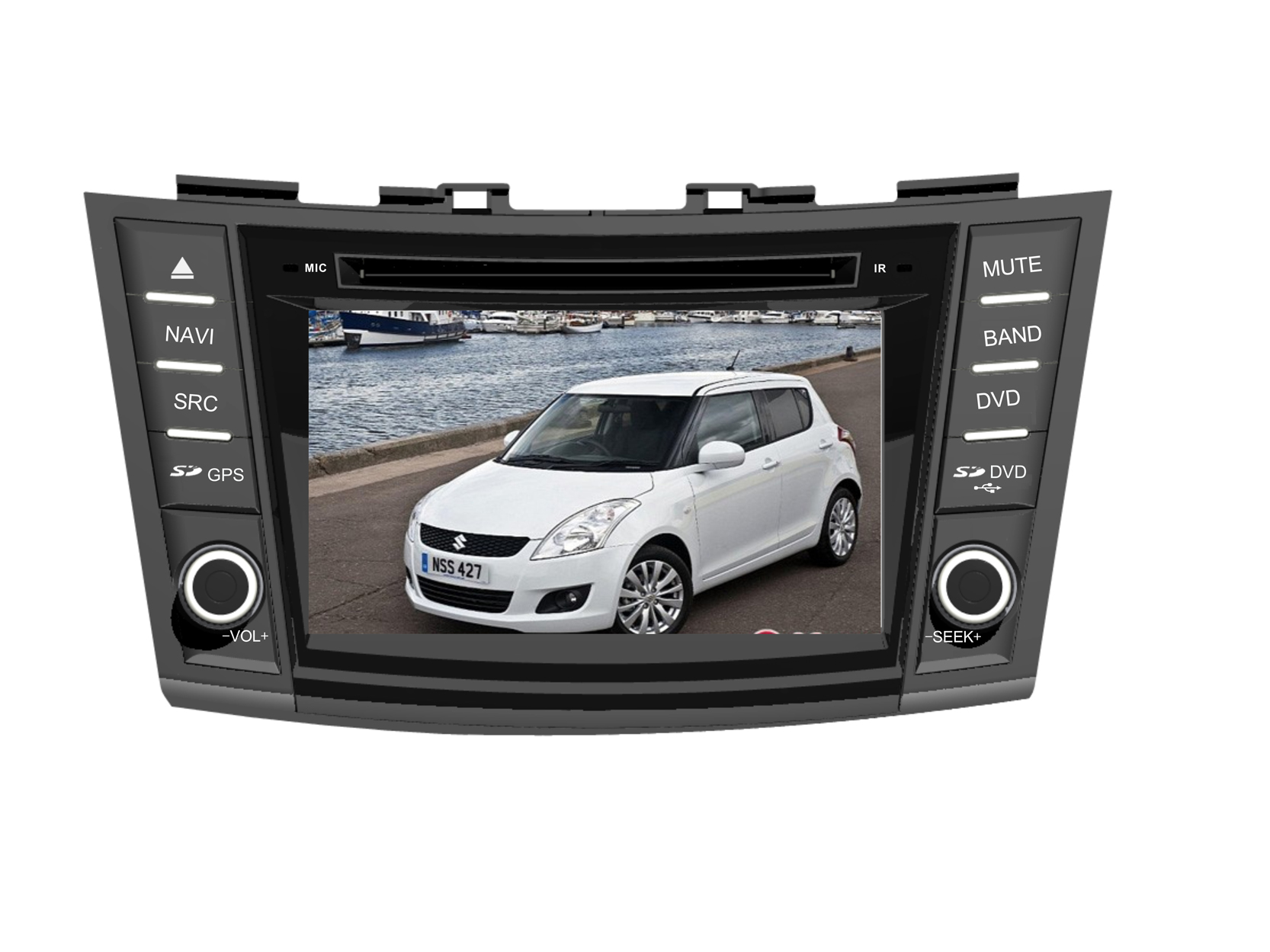 Station Multimédia Mobile 8 pouces Autoradio HD GPS DIVX DVD MP3 USB SD Bluetooth PIP disque dur 2 Go avec CAN BUS pour Suzuki Swift