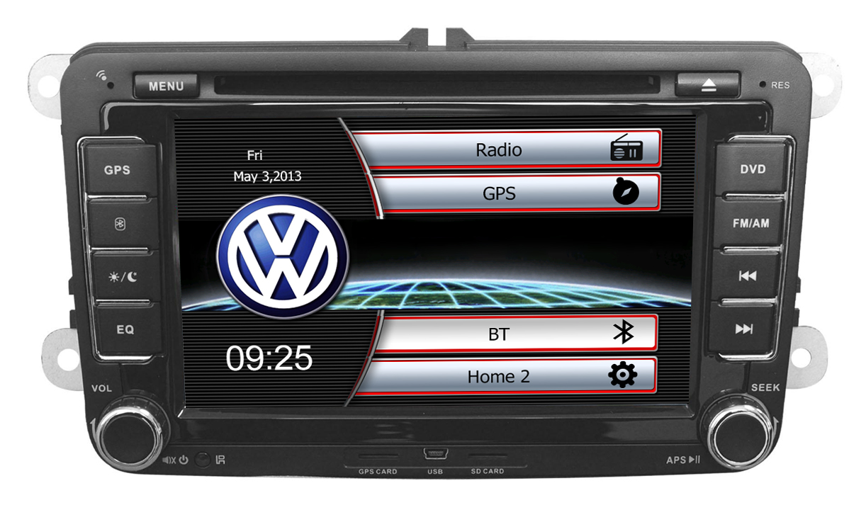 Autoradio AGW92 GPS WIFI DVD CD Bluetooth USB SD pour VOLKSWAGEN Scirocco Golf 5 6 Polo Passat B6 CC Jetta Tiguan Touran Sharan Eos Caddy (Windows processeur 1GHZ)