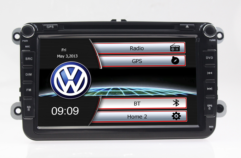Autoradio 8 pouces HD GPS DIVX DVD MP3 USB SD RDS Bluetooth avec CAN BUS pour Skoda Yeti Roomster Superb Octavia II et Fabia