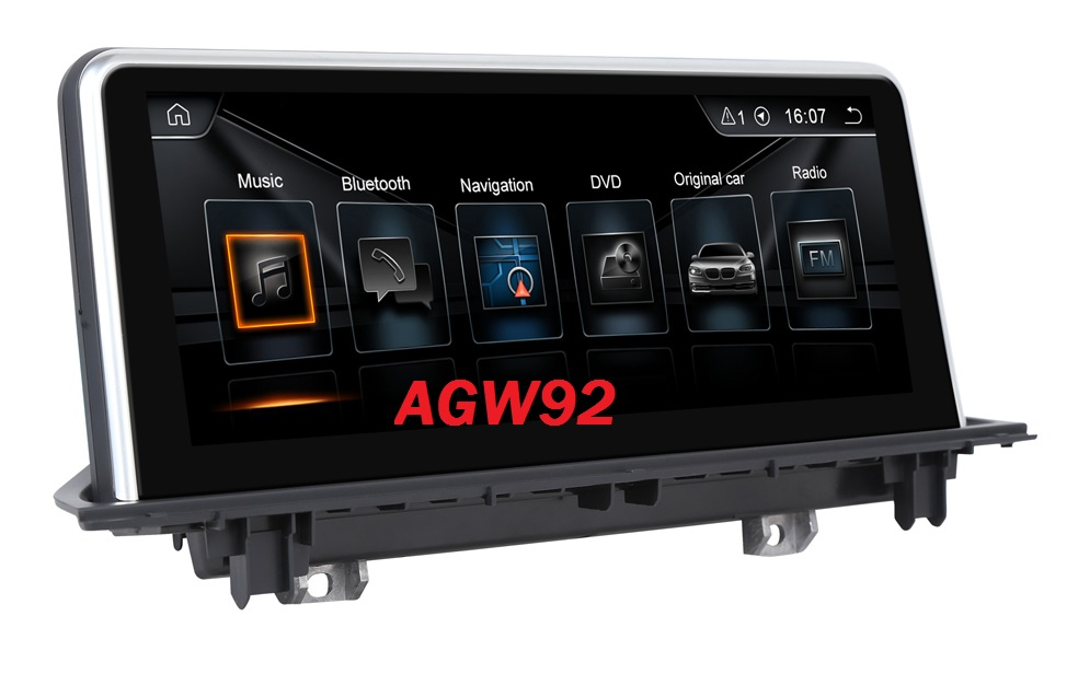 Autoradio AGW92 GPS WIFI DVD CD Bluetooth USB SD pour BMW X1 F48 (Android 8.1 processeur 2GHZ)